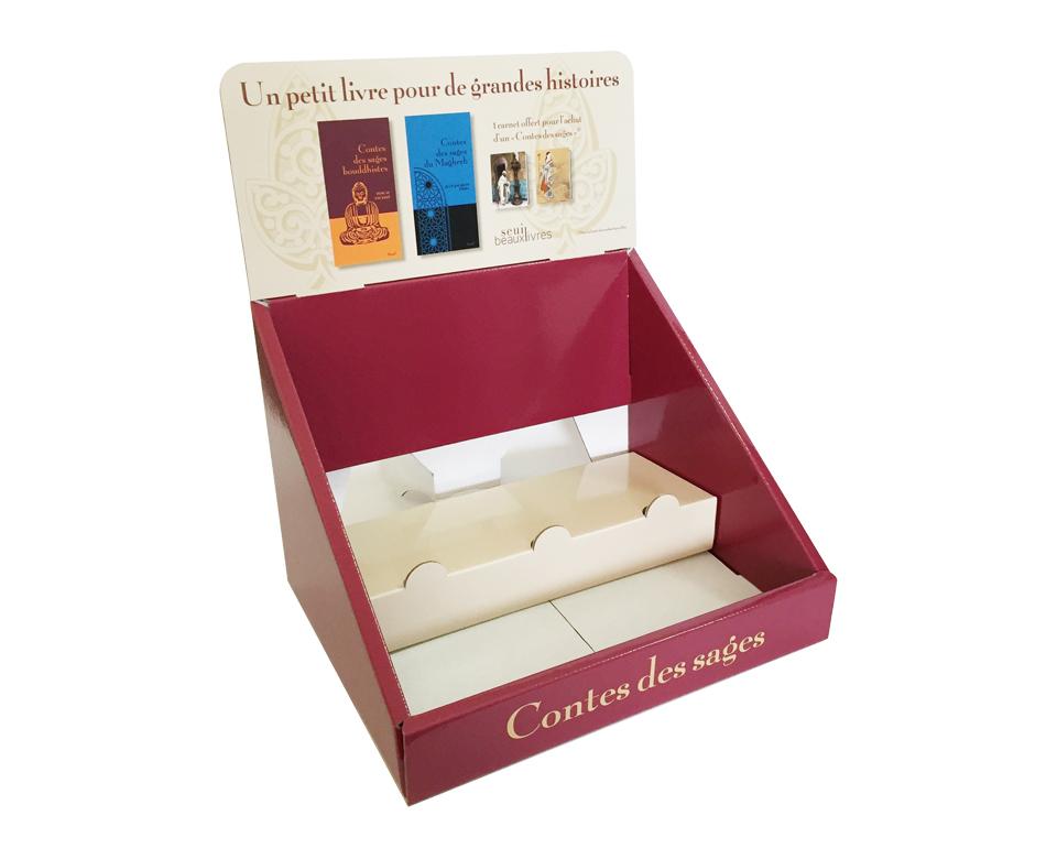 pr sentoir de comptoir 2 niveaux en carton fabricant fran ais de plv. Black Bedroom Furniture Sets. Home Design Ideas
